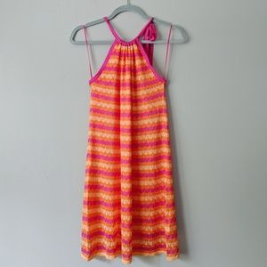New Trina Turk Bright Crochet London Halter Dress